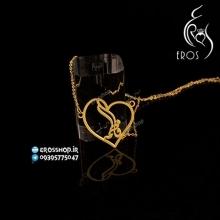 گردنبند پلاک اسم فاطمه فارسی با قاب فریم طرح قلب