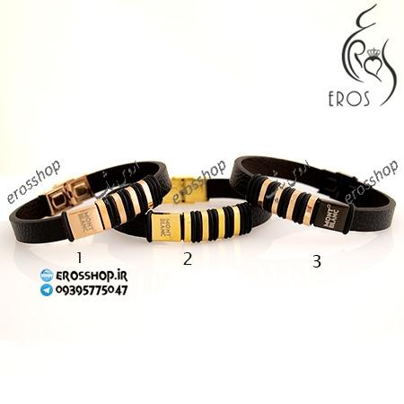 دستبند چرم مردانه اسپرت برند مون بلان
