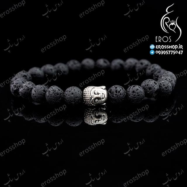دستبند دست ساز اسپرت سر بودا و مهره سنگی آتشفشانی لاوا