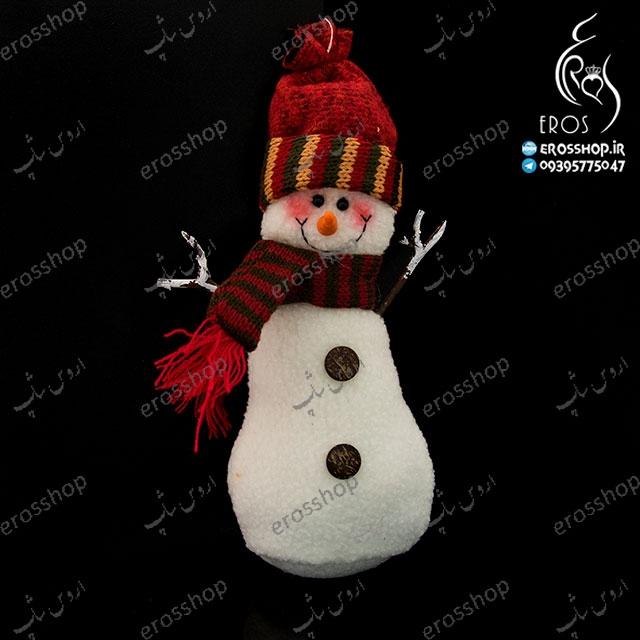 آویز دیواری و درخت کریسمس طرح آدم برفی شالگردن دار شنی