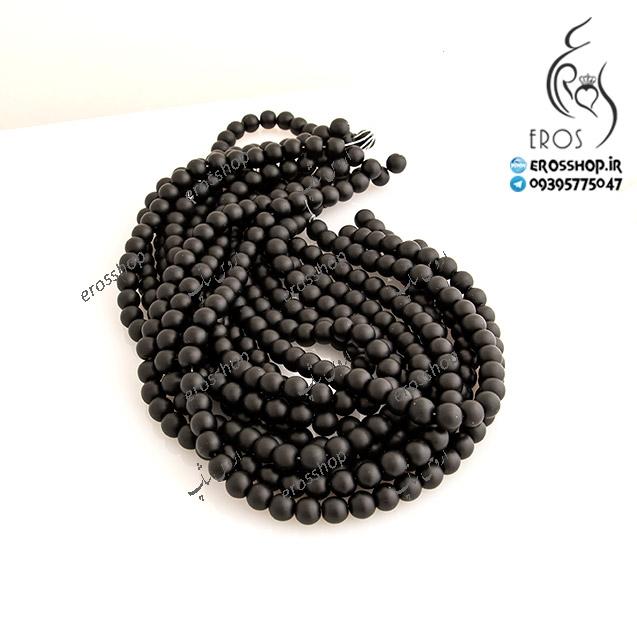 مهره سنگی اونیکس مات مدل ساده جهت گردنبند یا دستبند