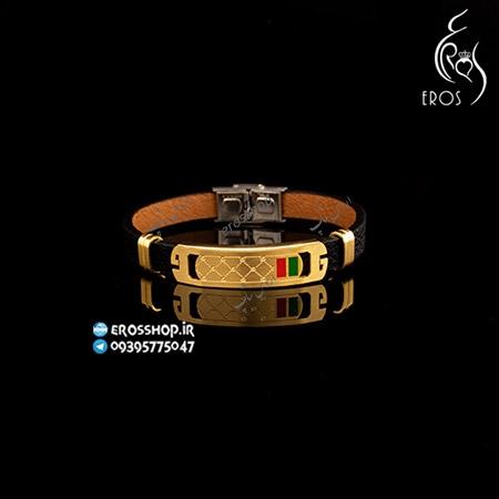 دستبند پسرانه چرمی اسپرت استیل طرح گوچی