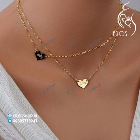 گردنبند پلاک قلب دخترانه همراه با حکاکی نوشته سفارشی