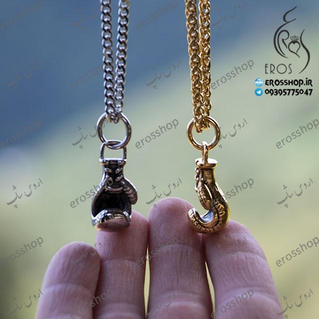گردنبند زنجیر با آویز اسپرت طرح دستکش بوکس استیل