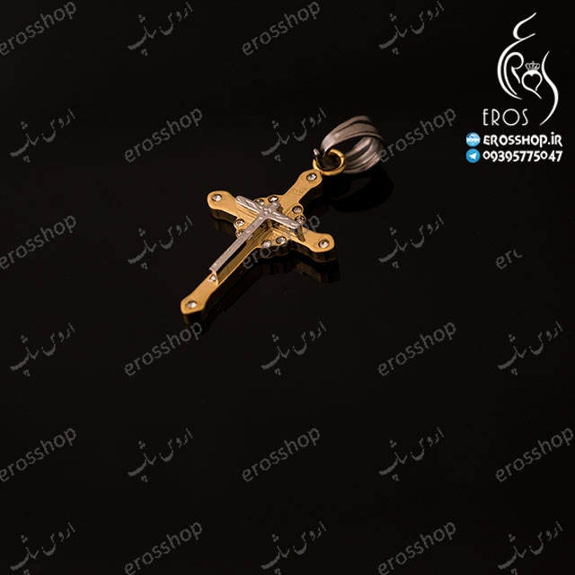 گردن آویز صلیب دو رنگ