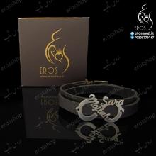 دستبند چرم پلاک اینفینیتی با اسم های سارا و مجتبی