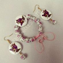 نیم ست دستبند و گوشواره گل سرامیکی