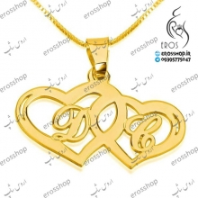 Heart pendant necklace with yellow gold plated silver 2-letter plaque model