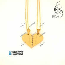 Pendant necklace model two halves heart inscribed on each half
