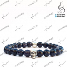 Skeleton skull sports bracelet with Navy blue stone beads