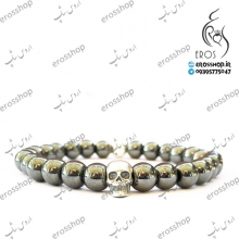 Skull plaque and metal balls silver bracelet Hadid