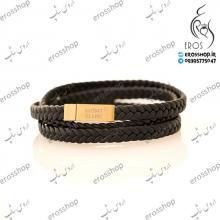 دستبند مردانه اسپرت چرم و استیل طلایی