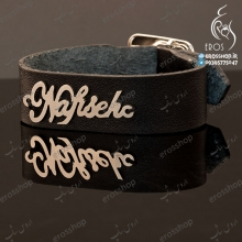Natural leather bracelet stainless steel nameplate Nafiseh typography EN