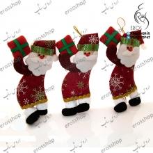 آویز عروسکی کریسمسی طرح بابانوئل هدیه کریسمس در دست