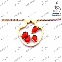 دستبند انار استیل طلایی با نگین های یاقوت قرمز