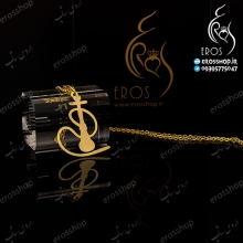 Chain necklace with pendant steel plaque like hookah