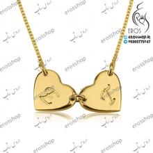 آویز قلب با حکاکی حرف دلخواه همراه گردنبند زنجیر استیل