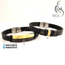 دستبند اسپرت مردانه چرم و استیل