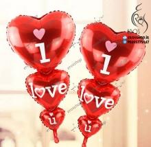 بادکنک فویلی قلب 3 تایی و نوشته I love you دوستت دارم