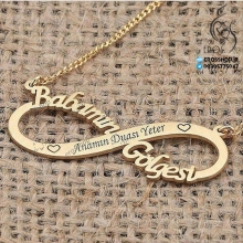 Necklace nameplate pendant design in infinity and engraving