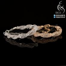 دستبند زنانه کریستالی و استیل دو رشته برند سواروسکی
