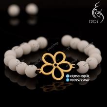 دستبند دخترانه پلاک طرح گل استیل طلایی مهره سنگی