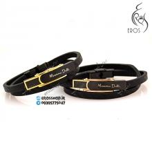 دستبند اسپرت چرمی با پلاک ماسیمو دوتی در دو رنگ طلایی و رز گلد