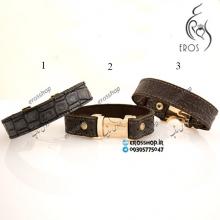 دستبند چرم اسپرت در سه طرح با قفل خرچنگی
