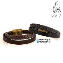 دستبند چرم اسپرت دستساز دو رشته بافت و ساده
