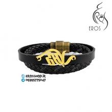 پلاک اسم صالح از جنس نقره دستبند چرم اسپرت دستساز