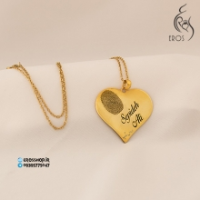 Heart pendant with engraving two names and finger print and fingerprint