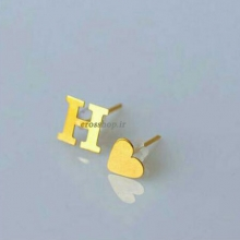 Earrings heart and the letter