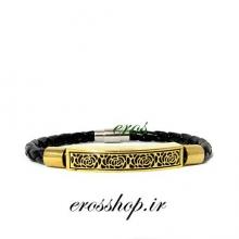 دستبند چرم بافت پلاک گل