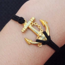 Handmade Anchor with suede cord bracelet