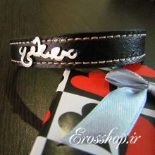دستبند چرم پلاک استیل مصطفی