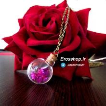 گردنبند با آویز حباب گلدار