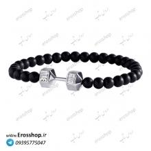 دستبند سنگ دمبل نقره ای